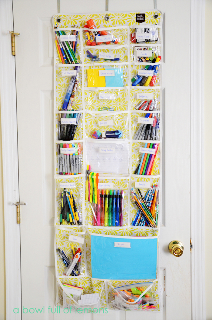 School supply organization hacks: Use an over-the-door shoe holder for supplies | A Bowl Full of Lemons