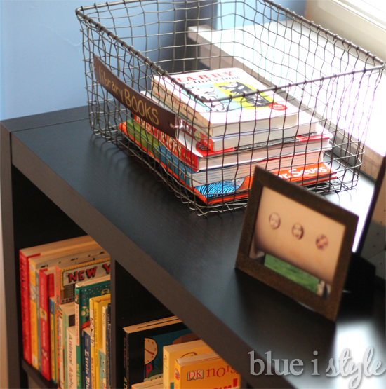 School supply organization hacks: Designate a library bin at home via Blue i Style