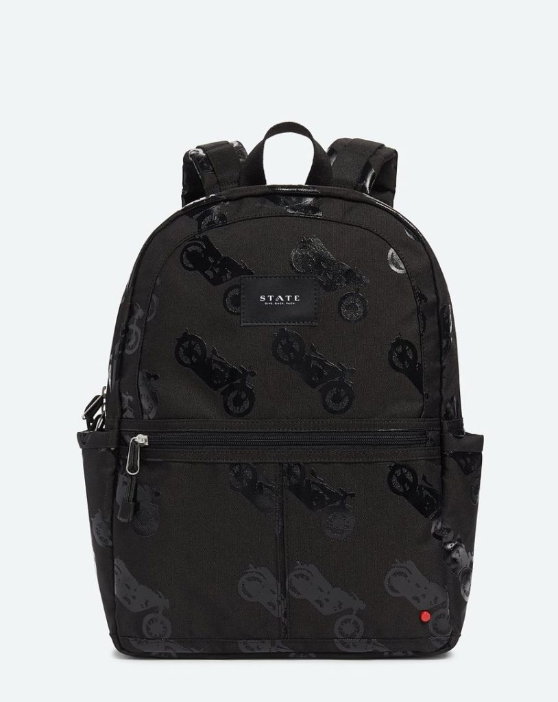 Coolest backpacks for grade school: State backpack with black on black motorcycles | Back to school guide 2019 Cool Mom Picks