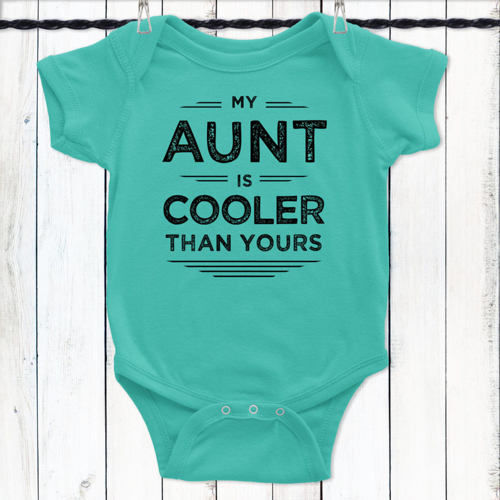Best baby shower gifts under $15: cool aunt baby onesie| Cool Mom Picks Baby Shower Gift Guide