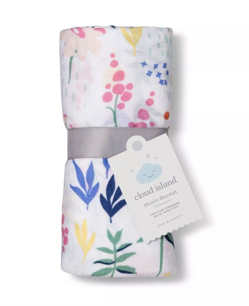 Best baby shower gifts under $15 : Floral muslin swaddle from Target | Cool Mom Picks Baby Shower Gift Guide
