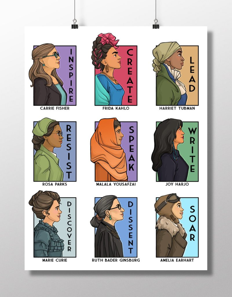 Artist Karen Hallion's new poster featuring favorite real-life heroines