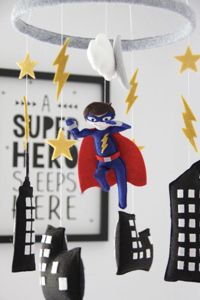 Custom felt superhero mobile for nursery | best baby shower gifts $50-150