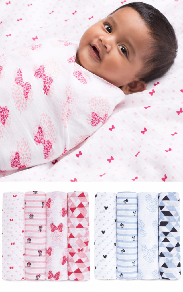 Graphic Disney Mickey or Minnie swaddle sets from Aden + Anais | best baby shower gifts