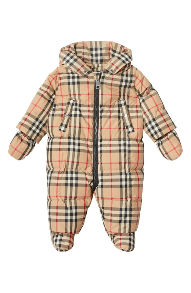 Burberry check baby snowsuit: The best luxury baby gifts and shower splurges