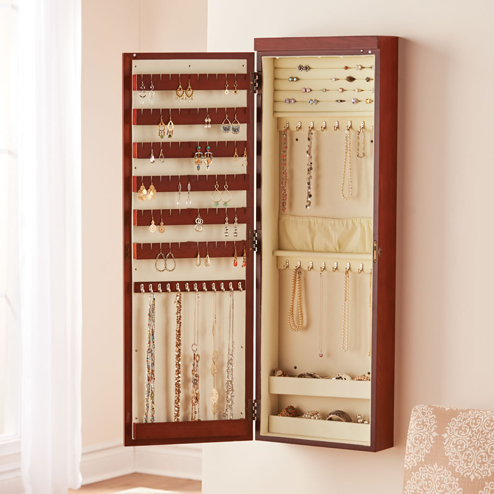 Decluttering solutions to get things off of floors and counters: Wall mounted jewelry armoire
