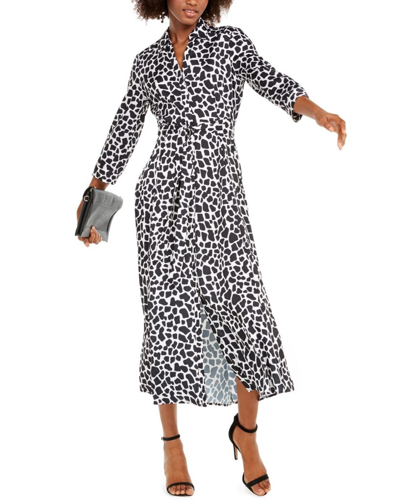 Long belted shirt dresses for fall: animal print dress by Inc for Macy's