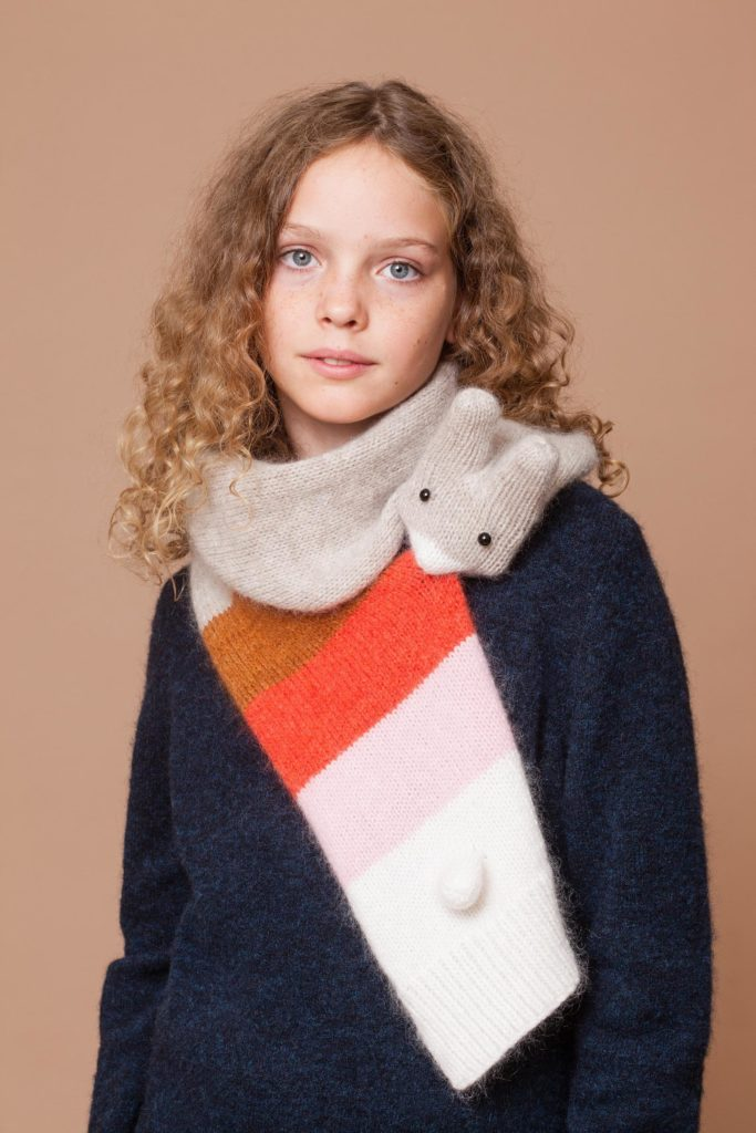 Hand knit animal scarves for adults, kids and babies from Etsy artist Nina: Kid-sized rabbit scarf