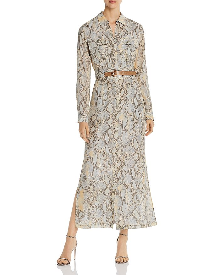 Long belted shirt dresses for fall: Snakeprint dress by Lafayette 148 on sale