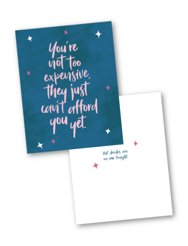 Statement cards celebrating women's achievements: A job interview (you didn't get. Yet.)