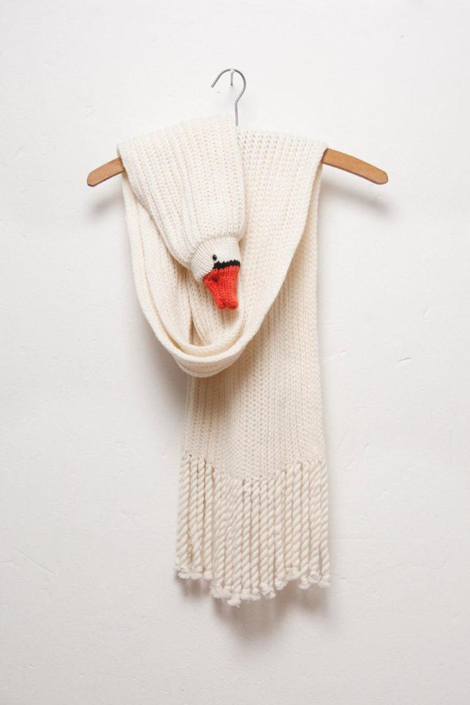 Hand knit animal scarves for adults, kids and babies from Etsy artist Nina: Long swan scarf