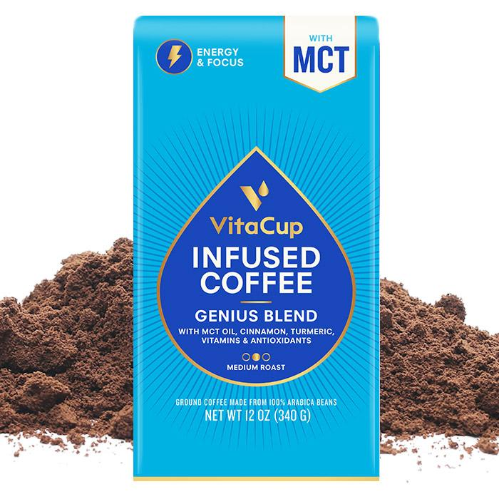 VitaCup Genius Blend infused coffee with vitamins, MCT oil, turmeric and cinnamon