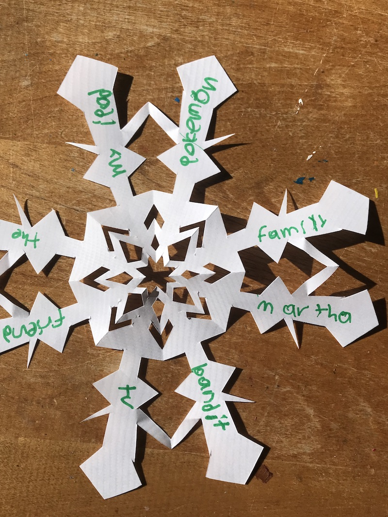 DIY Gratitude garland snowflakes help build the Christmas spirit all holiday long. | Photo (c) Kate Etue for Cool Mom Picks