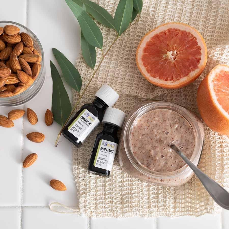 Homemade eucalyptus shower scrub from Aura Cacia: Handmade mason jar spa gifts