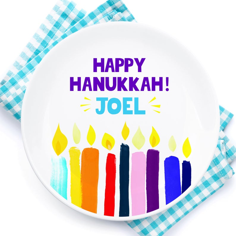 Personalized child's Hanukkah plate on Etsy from Awesome Peppers