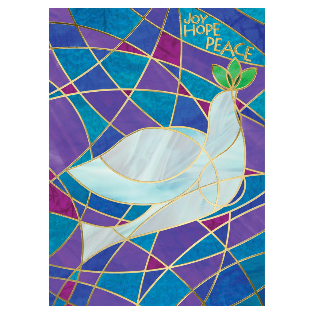 Gifts that give back: Stained glass dove cards supporting the World Wildlife Federation