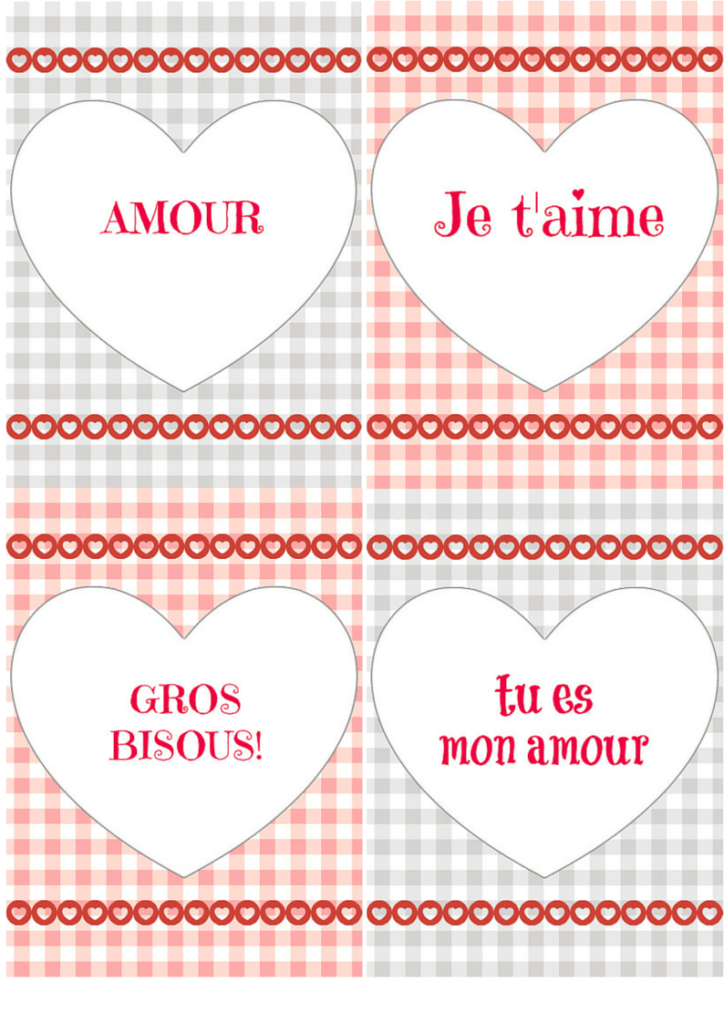 Bilingual printable Valentines in French and English via Lady Deeig