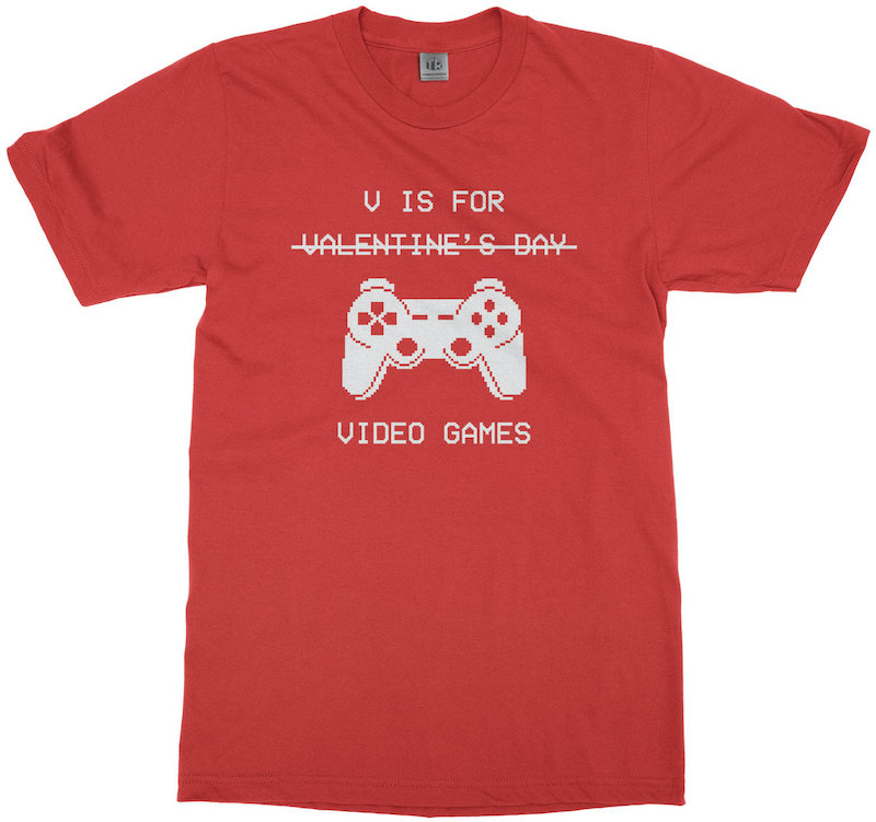 """Valentine's Day gift ideas for boys: """"V is for Video Games"""" t-shirt from Threadrock"""