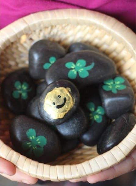 St. Patrick's Day for kids: Painted Shamrocks from Alpha Mom