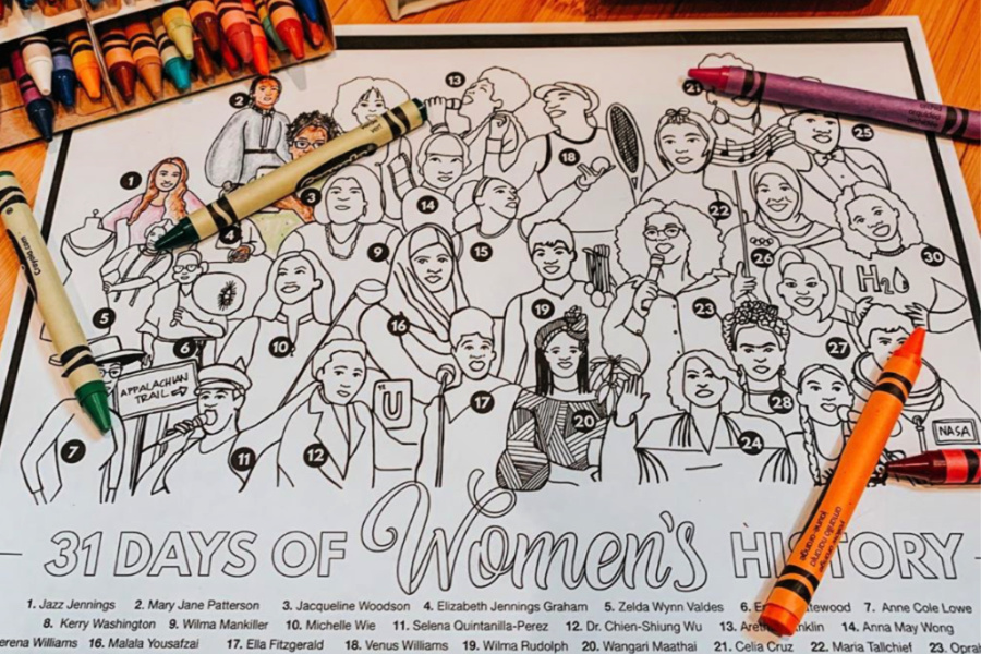 This free printable Women's History Month coloring page should cover your at-home history lesson and art class in one