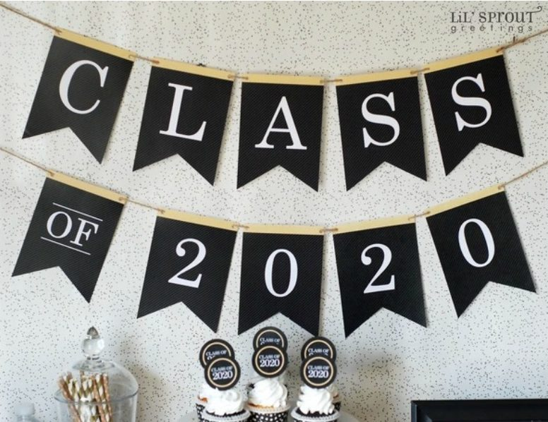 Celebrating the class of 2020: Download free party printables for your own household party from Lil Sprout Greetings