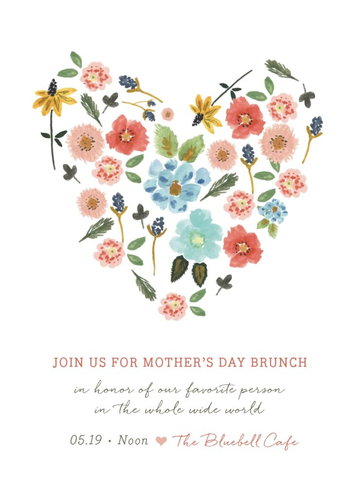 Digital e-card to invite mom to a virtual Mother's Day brunch over zoom