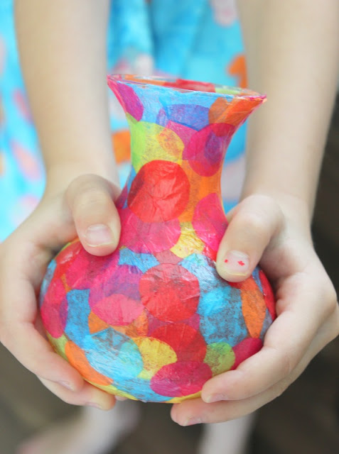 Special Mother's Day gifts from the kids: A handmade confetti vase from Modge Podge is an easy DIY! | Mother's Day Gift Guide
