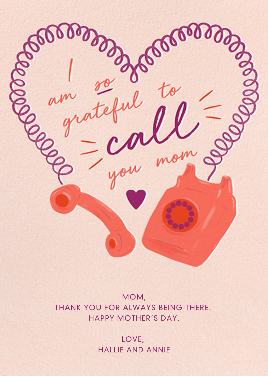 Mother's Day e-cards that know just what to say: This Heart Cord card is perfect if mom is #1 on your speed dial.