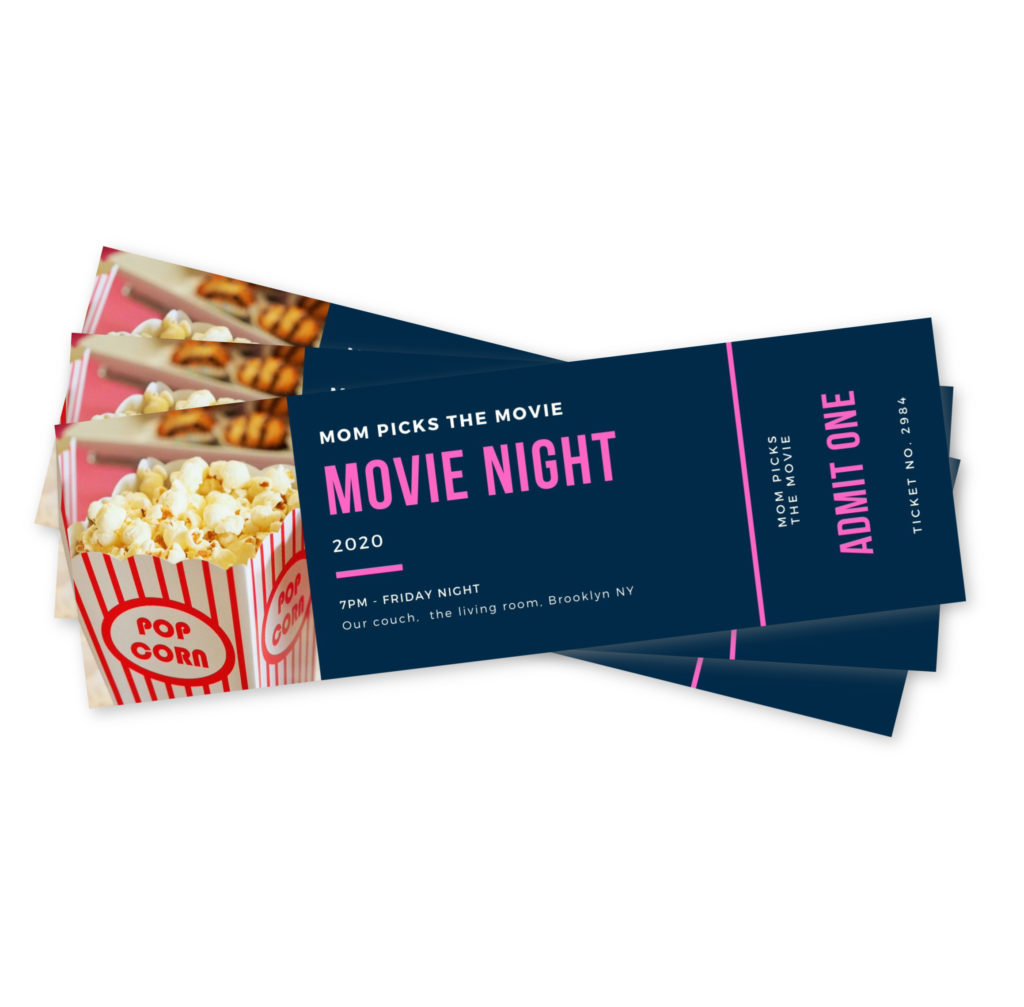 DIY printable movie night tickets for Mother's Day: Add snacks and popcorn!