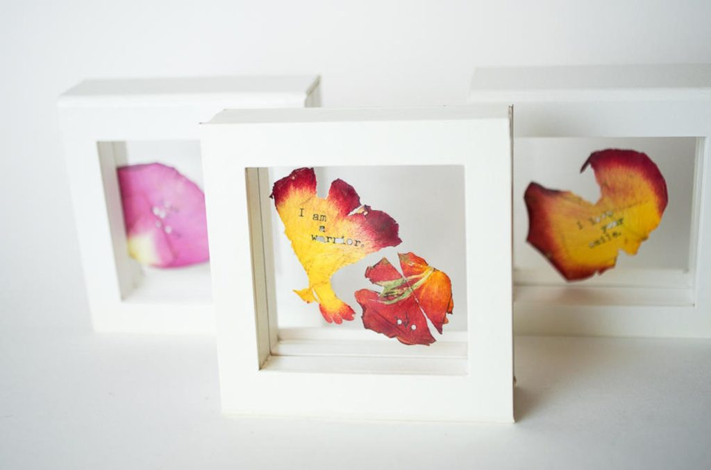 Meaningful Mother's Day gifts for mom or grandma: Personalized flower art with words on petals, suspended in this glass frame | Mother's Day Gift Guide