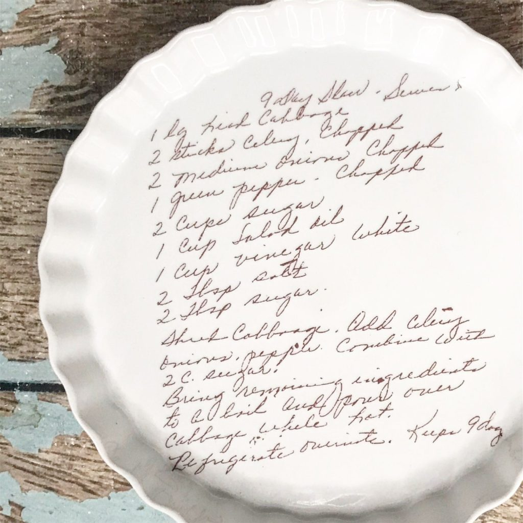 Meaningful Mother's Day gifts for mom or grandma: A personalized pie pan with a special recipe printed on it | Mother's Day Gift Guide