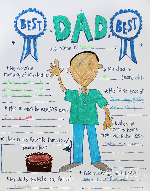Homemade Father's Day cards from the kids: This Father's Day printable coloring page from Skip to My Lou makes things easy and fun