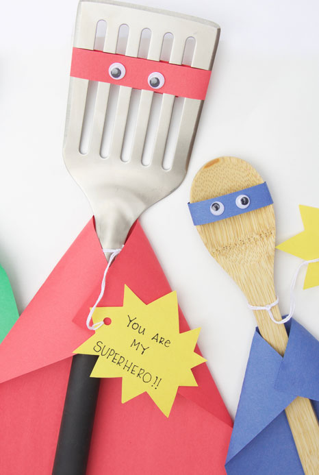 Easy Father's Day crafts for kids: Turn new utensils and tools into a superhero-themed gift for dad on Father's Day with this idea from One Little Project