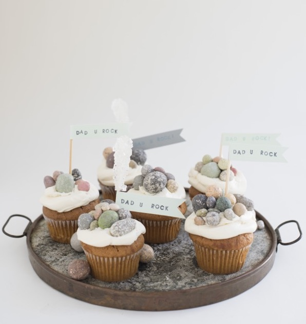 Easy Father's Day crafts for kids: Top cupcakes with chocolate rocks for an easy Father's Day edible craft from Oh Happy Day!