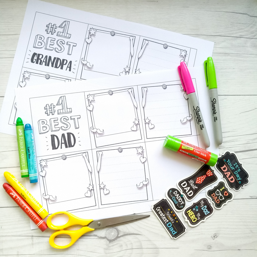 Homemade Father's Day cards from the kids:  Use Make and Take's free printable coloring pages to make this little accordion book for Dad or Grandpa