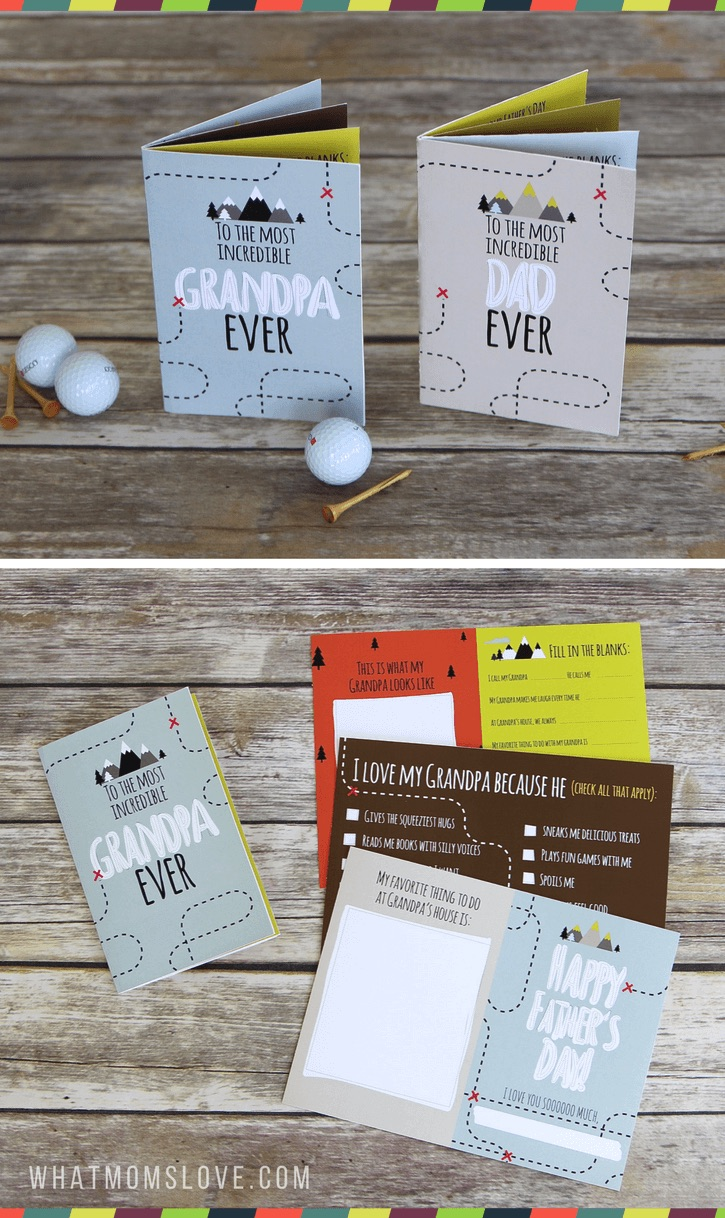 Homemade Father's Day cards from the kids: Remember both Dad and a favorite grandpa with these two printable Father's Day booklets from What Moms Love