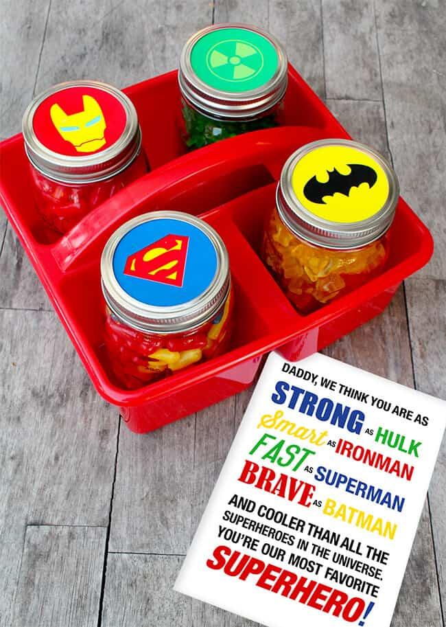 Easy Father's Day crafts for kids: Free printable Superhero labels and card for Father's Day from Sandy Toes and Popsicles
