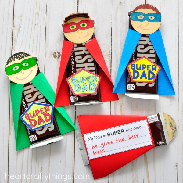 IEasy Father's Day crafts for kids:  Heart Crafty Thing's Superhero craft for Father's Day includes a spot for a special note