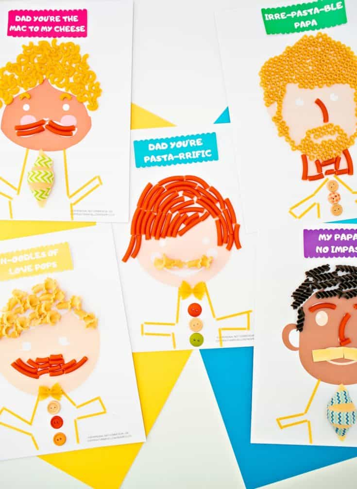 Homemade Father's Day cards from the kids: Pasta portraits of dad, with DIY instructions and printables from Hello Wonderful.l