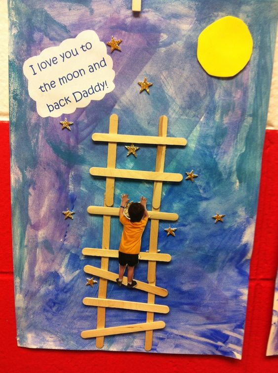 """Homemade Father's Day cards from the kids: We love this clever """"love you to the moon and back"""" card that combines a photo and a little easy crafting"""
