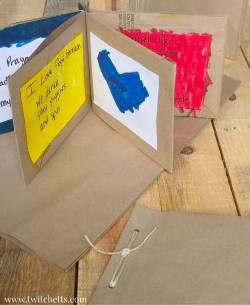 Turn a grocery bag into a Mother's Day book using this idea from Twitchetts