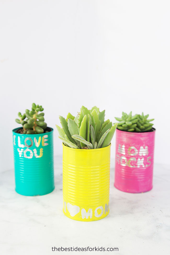 This Mother's Day, these recycled can planters from The Best Ideas for Kids make a great gift