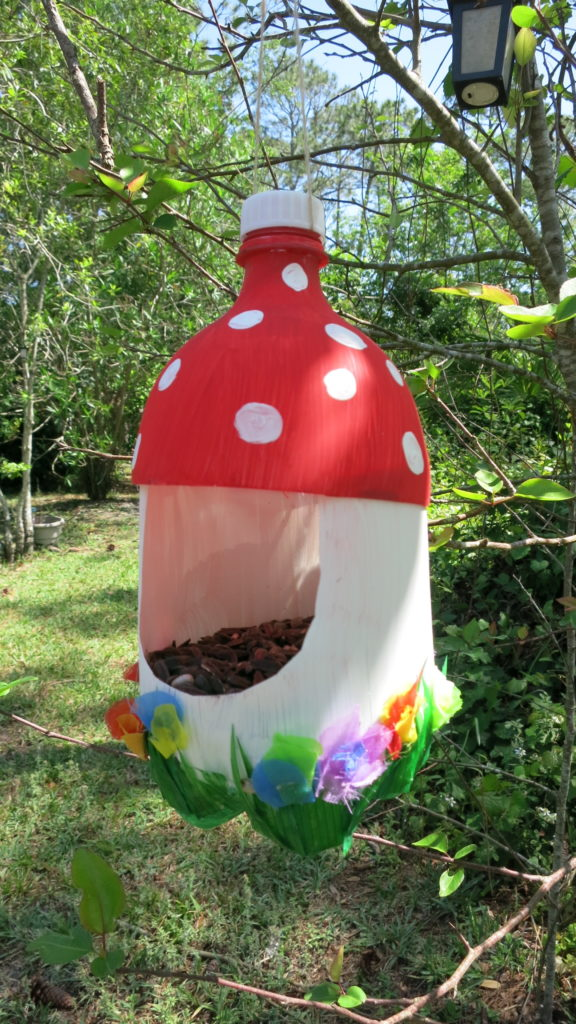 Turn a plastic bottle into a bird feeder Mother's Day gift with tutorial from Hey Maaa