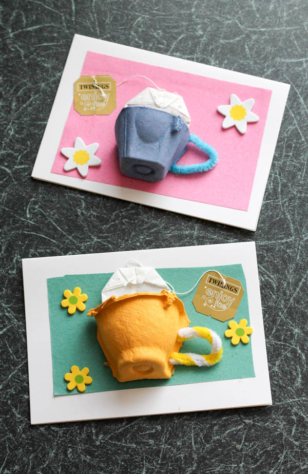 Recycled egg cartons become teacups on these Mother's Day card by In the Playroom