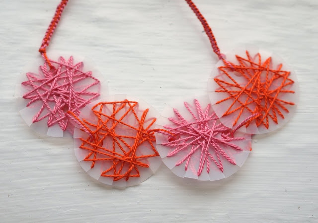 A recycled milk jug becomes a pretty Mother's Day necklace with this idea from Pink Stripey Socks