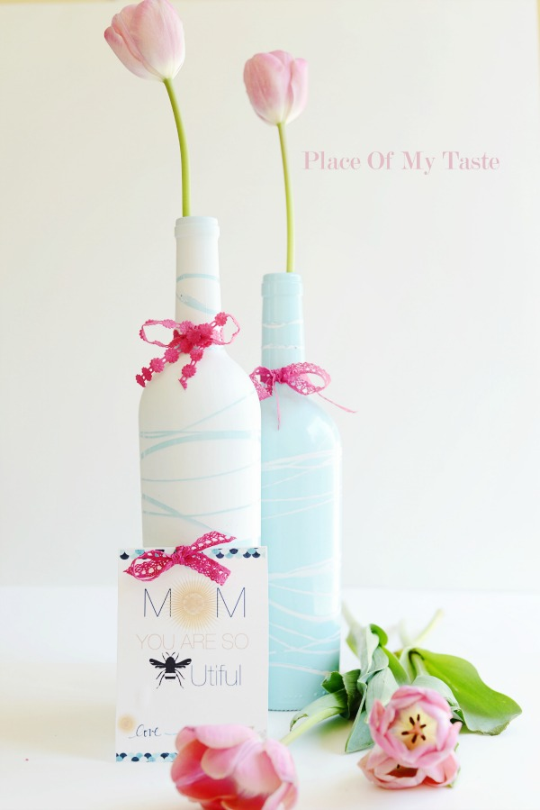 Recycled wine bottle vases from Tater Tots & Jello for Mother's Day