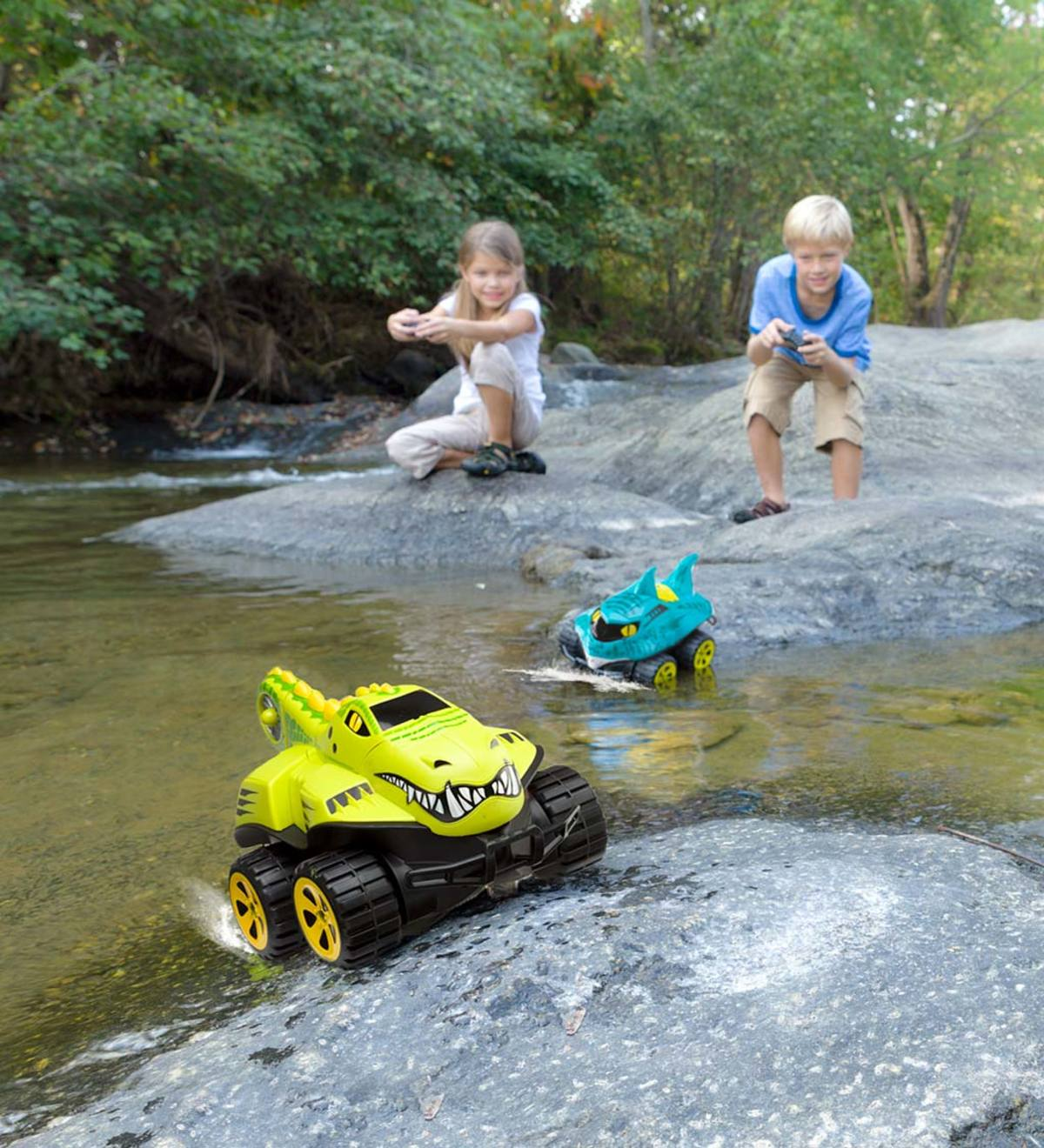 Fun backyard water toys for kids: Kids can play in and out of the water with these Mega Morphibian remote control cars.
