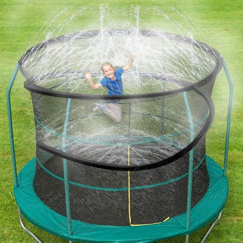 Fun backyard water toys for kids: Take your trampoline to the next level of fun with a trampoline sprinkler system.