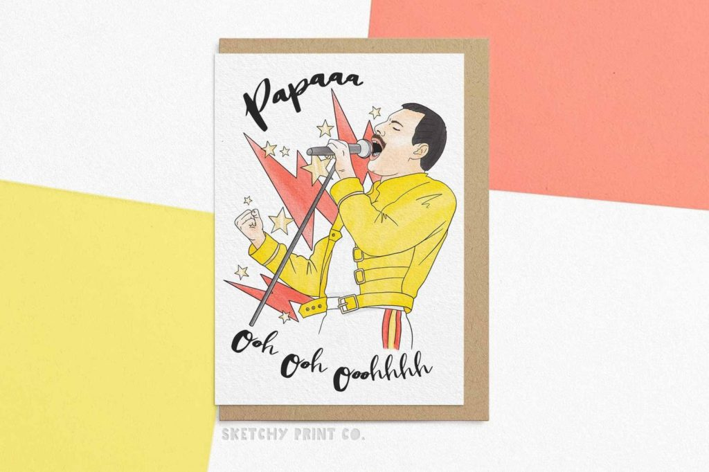 Funny Father's Day Cards   Papa Queen card by Sketchy Print Co