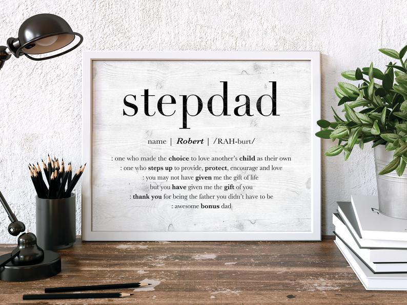 Cool Father's Day gifts under $20:  Personalized stepdad artwork